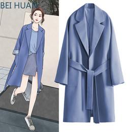 tubo largo verde Rebajas Nueva primavera y otoño Cazadora cortavientos Mujer rodilla larga Vestido coreano de primavera Abrigo azul Abrigo de otoño