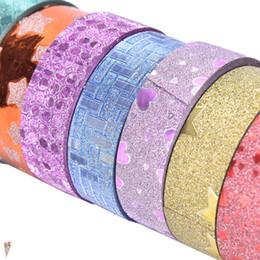 Nastro adesivo oro online-2019 10 pz nastri decorativi washi tape lotto adesivo mascheramento set glitter washitape adesivi oro scrapbooking cinta dekoratif bant 2016