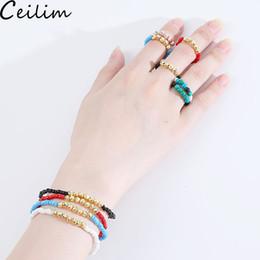 anéis de pedra naturais ajustáveis Desconto Handmade Natural Stone Hematita Beads Pulseiras Anel Set para As Mulheres Pequenas Arroz Contas Anéis Ajustável Tamanho Contas Pulseira Moda Jóias