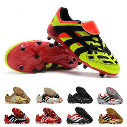 blue orange football cleats Promo Codes - Predator Accelerator Soccer Shoes Electricity FG DB David Beckham Becomes 1998 98 Men Cleats Football Boots Size 39-46