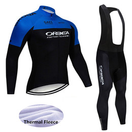 thermals suits Promo Codes - 2019 winter cycling clothing Set ORBEA men thermal fleece MTB bike jersey long sleeve shirts bib Pants suit Road bicycle clothing Y011001