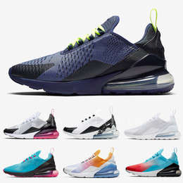 Sapatas florais dos homens on-line-NIKE Air Max 270 Blue Void Mens Running Shoes University Gold Firecracker South Beach Blooming Floral Sports Sneaker for Men and Women