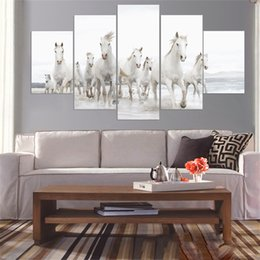 painting horses modern art Coupons - Wall Art Modular Pictures Home Decor 5 Panel Stronger Horse Animal HD Printed Modern Canvas Painting For Living Room No Frame