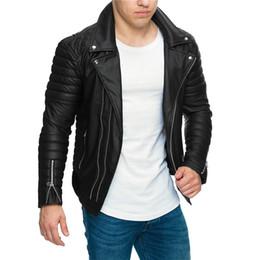 Chaqueta de diseño slim fit online-Para hombre diseñador PU chaqueta de cuero Motorbiker Turndown cuello cremalleras Slim Fit abrigos chaquetas