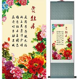 2019 peonías pinturas china Pintura de la peonía decoración de la oficina en casa pintura china de desplazamiento de aves pintura peonía y aves pinturas Ltw112307