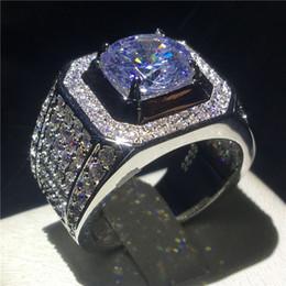 2019 jóias cheias de ouro chinês Choucong Luxo Anel Masculino Grande 3ct Claro 5a Zircon Cz 925 Sterling Silver Anéis de Noivado Banda de Casamento Para Homens J190620 Jóias Finas