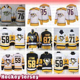 praticar mochilas de hóquei Desconto Pittsburgh Penguins Hockey Jersey Sidney Crosby Prática Kris Letang Evgeni Malkin Jack Guentzel Nashville Predators Pekka Rinne P. K. Subban