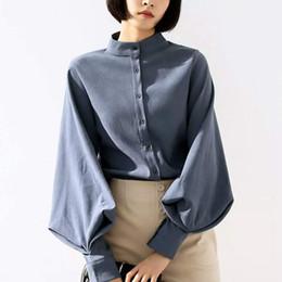 4d7663515463ab 2019 vintage damen bürobekleidung Vintage Damen Büro Shirts Mode Laterne  Langarm Frauen Blusen Mode Taste Einfarbig
