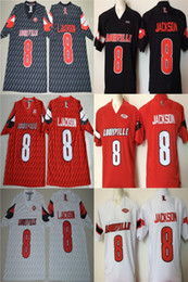 2019 fußball jerseys farbe # 8 Lamar Jackson Rot Schwarz Weiß Farbe Louisville Cardinals L. Jackson College Football Genäht Trikots 2017 Neue Art Jersey Kostenloser Versand rabatt fußball jerseys farbe