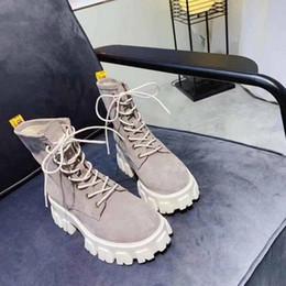 western-fersen Rabatt ang Fashion Brand Wildleder Stiefeletten Leder Damen Schuhe Western Style Wedges Distressed Motorrad Slip auf versteckten zunehmenden Absätzen