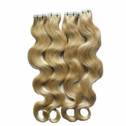 Onda del cuerpo Rubio # 613 Extensión de pelo de la trama de la piel de la cinta de pelo de Rusia Europea 80pcs Cinta En Extensión del pelo humano Adhesivo dibujado doble 200G desde fabricantes