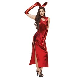Poste de sujeição on-line-Hot Sexy Feminino Preto Faux Leather Latex Backless Oco Out Dress Catsuit Corpo Bondage Noite Clubwear Pole Dance Costumes