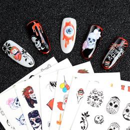 поп-арт Скидка MEET ACROSS 25 Sheets Skull Rose Nail Sticker Water Decal Halloween Pop Black Jewelry Full Cover Tips Polish Decal For Nail Art
