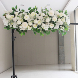 piantare peonia Sconti 50 cm FAI DA TE fila di fiori Acanthosphere Rose Eucalipto decorazione di cerimonia nuziale fiori rosa peonia ortensia pianta mix fiore arco fiore artificiale fila
