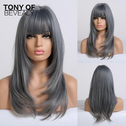 perruques bleues frange Promotion Long Wavy Ombre Blue Wigs Heat Resistant Synthetic Wigs With Bangs For African American Women Coaplay Natural Hair