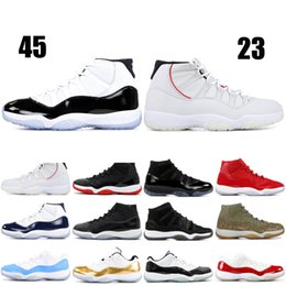 Canada Nike Air Jordan Retro 11 XI Hommes Chaussures de basketball Concord Bred Olive Lux Platine Teint Space Jam UNC 2019 XI Designer Chaussures Hommes Sport Sneakers 36-47 Offre