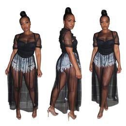 Длинное платье клуба сквозь тюль онлайн-Женщины прозрачные сетки прозрачные платья с короткими рукавами шею оборками длинный тюль макси коктейль вечернее платье клуба бикини прикрыть