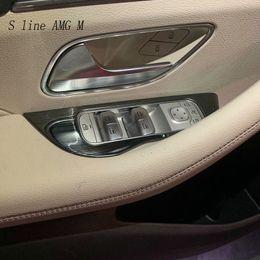 Puertas de vidrio de acero online-Car Styling Door Armrest panel cover Stickers para GLE Class 2020 acero inoxidable Window Glass Lifting Buttons Trim