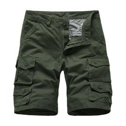 Pantalones cortos de carga militar para hombre Bolsillos múltiples Pantalones cortos ocasionales Más el tamaño Pantalones cortos de algodón Ropa de marca 2019 Envío gratis desde fabricantes
