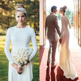 jenny packham vestidos de noiva backless Desconto 2019 primavera simples vestidos de casamento mangas compridas botão de volta de cetim macio até o chão país vestidos de noiva robe de mariee