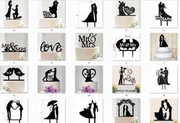 C acessórios on-line-Senhor deputado casamento decoração c acrílico preto romântico noiva noivo bolo acessórios para festa de casamento favores