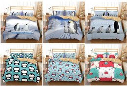 modern king beds Promo Codes - Cute Antarctic Penguin Series Penguin 3D Lifelike Bedding Set Printed Down Bedding Set Home Textiles,Twin,Full,Queen,King