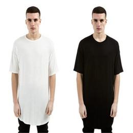 Удлиненные негабаритные футболки онлайн-Мужская мода Хип-хоп Хабар Длинная футболка Негабаритные топы Хай-стрит Тис повседневная футболка Tyga Extended Kanye