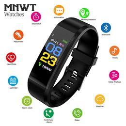 реальный фитнес Скидка MNWT смарт-браслет Фитнес-трекер смарт-браслет в режиме реального времени монитор сердечного ритма смарт-часы водонепроницаемый OLED сенсорный экран Smartband