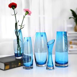 Puro paesaggio verde online-Vaso di vetro blu puro trasparente per articoli da regalo di nozze di casa di moda Decorazione Vasi di fiori di vetro paesaggio verde
