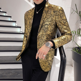 цветочный стиль блейзера  Скидка  Gold Blazer For Men 2019 Slim Fit Mens Floral Print Blazer Jacket British Style Prom Party Wedding Blazers Large size 5XL