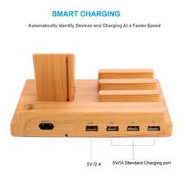 cargador de escritorio Rebajas Soporte de base para cargador de teléfono inteligente para Apple Watch iPhone / iPad234 Estación de carga de escritorio de madera 4 puertos USB Cargador de reloj
