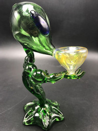 G spot tubi online-Glass Pipes Smoking Alien Glass Water Pipes Approx 18cm Height Green G Spot Smoking Pipes Dab Rig Glass Bong Water Free Shipping