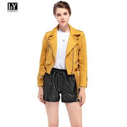 señoras chaquetas de cuero amarillo Rebajas Ly Varey Lin Mujer Faux Soft Leather Suede Jacket Coat Biker Lady Turn-down Collar Zipper Chaqueta corta Rosa Verde Amarillo Abrigos