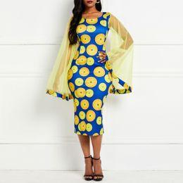 Donne polka dot strette online-Vintage Bodycon Dress Women Party Spring Mesh Long Sleeve Polka Dot Tight Print Yellow Elegant Ladies 2019 Summer Midi Dresses