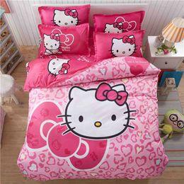 jogos de colcha de desenho animado Desconto 4 pcs olá kitty dos desenhos animados jogo de cama crianças com capa de edredão conjunto de lençóis de cama roupa de cama colcha lençol queen size