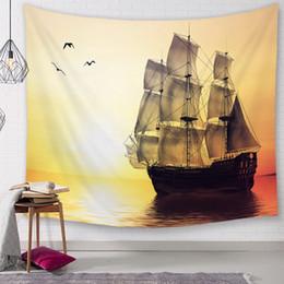 Pintura a óleo vela on-line-Mural Navio Paisagem Venda Quente Pintura A Óleo Sailing Boat Digital Impresso Tapeçarias, Cobertores De Parede, Toalhas de Praia e Toalhas De Mesa