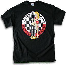 Heißes schwarzes männer tshirt online-Biker Größere Funke Bessere Bang Hot Plug Pin Up Mädchen V8 Hot Rod Männer Schwarz T-shirt Mode Männer T-shirt
