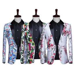 Colori tuxedo online-2019 5 colori da uomo Nightclub DJ Performance Party Jacket Blazers Shiny Paillettes Fiori modello Tuxedo Wedding Groom Costumes