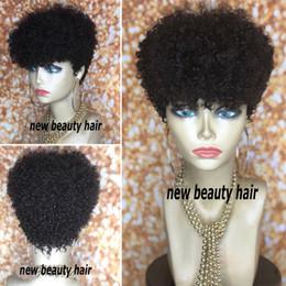 Cabelo curly kinky bobs on-line-Glueless Cabelo New Kinky Curly cabelo humano Perucas Curtas Bob Wigs Remy brasileira peruca para as Mulheres Cabelo Natural Preto