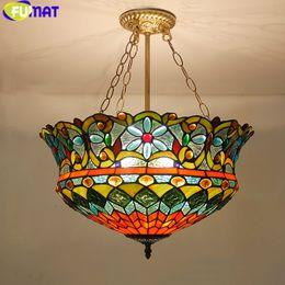 ampoules jaunes bon marché Promotion FUMAT Tiffany Luminaires suspendus fleur LED Stained Glass suspension suspension luminaire Couleur Verre Salon Suspendre Lampe