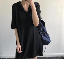 Vestido solto da edição feminina das mulheres on-line-No verão de 2018, o novo vestido han edição 5 minutos de manga encapuzados tricô menos idade mulheres soltas mostram saia preta
