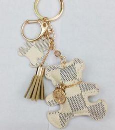 Tassel chaveiro ouro on-line-Original nova marca de moda pu couro urso chaveiro para meninas de couro borla ouro chaveiro mulheres car bag acessórios charme jóias presente