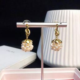 серьги из винограда Скидка Women jewelry designer PRECLOUS luxury earrings plated 18k gold knotted pearl grape earrings summer new products