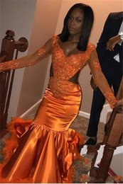 purple feather dresses Promo Codes - African Orange Mermaid Prom Dresses 2019 V Neck Long Sleeve Cutaway Sides Lace Applique Prom Dress Women's Sexy Party Gowns