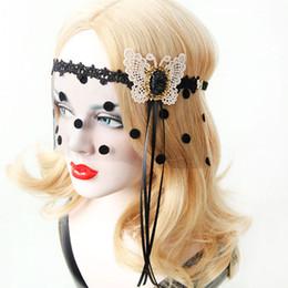 Mädchen schmetterling maske online-Halloween Halbe Gesichtsmaske Schwarzer Schleier mit Punkten Weißer Schmetterling Spitze Maskerade Prinzessin Masken Nachtclub Tanz Mädchen Haarschmuck