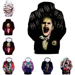 Sudadera joker online-Ropa de diseñador de lujo para hombre Jersey Streetwear Abrigos Escuadrón suicida Joker Sudaderas con capucha de impresión en 3D Suéter Sudadera Chaqueta Jersey Top C73101