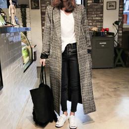 2019 casual mäntel für damen Winter Herbst Elegante Frauen Korean Office Lady Lange Plaid Mantel Lose Übergroße Warme Wollmischungen Mantel Casual OL Trenchcoat günstig casual mäntel für damen