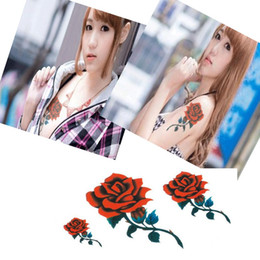 Femmes Étanche Corps Bras Art Tatouages Temporaires Autocollant Jambe Fleur Faux Tatouage Manches Papier Sexy Rouge Rose Conception ? partir de fabricateur