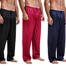 Pantaloni in raso di mens online-2019 Nuovo Modo di Marca Mens Pigiama Satin di seta Pigiama Pantaloni Pantaloni Bottom Sleepwear Sleepwear