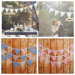 3.2 m 12 bandiere pizzo pennant bunting banner triangolo forma appesa festa matrimonio decorazioni di natale bandiere bandiere decorazione di nozze da